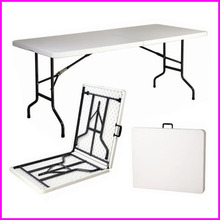 6'Ft Folded In Half Center Foldable Desk HDPE Plastic Outdoor Wedding Banquet Trestle White Folding Tables And Chairs