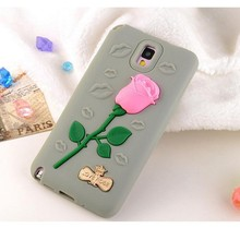 Lovely 3D Rose design Silicone Case Cover for Samsung note 3