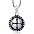 Stainless Steel Engraved Cross Pendant Necklace for Men