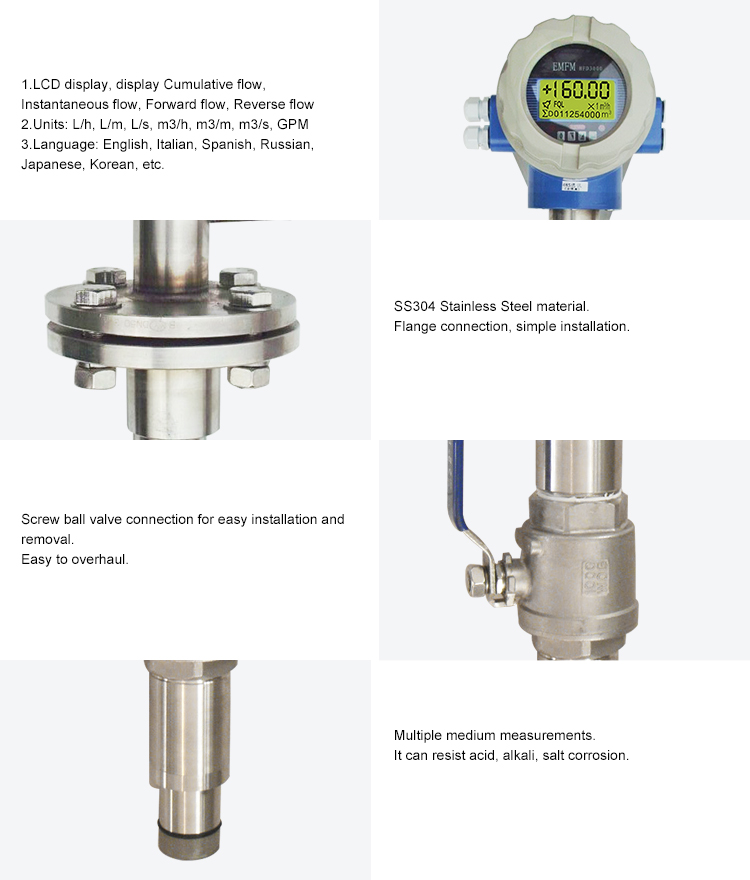dn 100 stainless steel  flow meter continuous casting electromagnetic flow meter