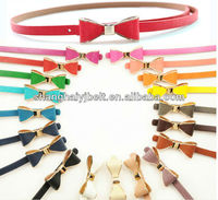 Candy Color PU Bow Buckle Skinny Ladies Fashion Woman Belt YJ-HY0146
