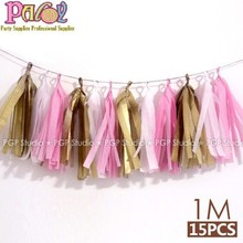 Pink & Gold Tissue PapPink & Gold Tissue Paper Tassel Garland, for Children's Day Wedding baby shower Birthday Party Decorations