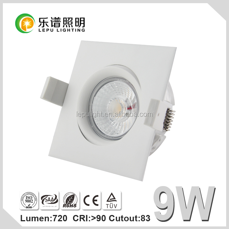 Hot selling 360 angle tilt dimmable cob led downlight square Actec driver cutout83mm
