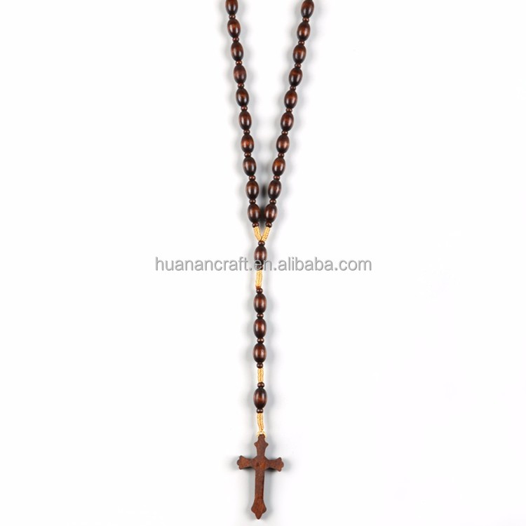 Simple design european style 8*6mm wooden rosaries religious rosary