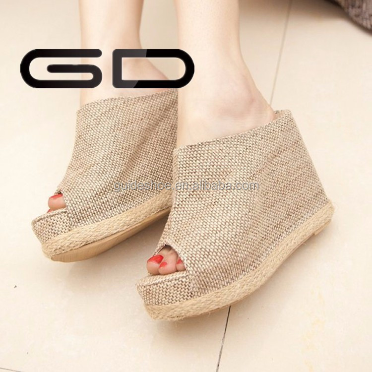2015new style peep-toe women platform wedge heel <strong>sandals</strong>