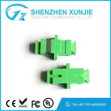 High Quality SC APC fiber optic singlemode simplex green Flexible adapter with metal shutter cap