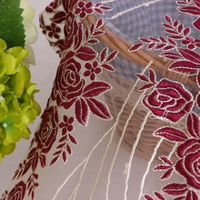 China manufacturer fashion design 100 polyester african wedding red rose flower net embroidery lace curtain fabric for sale
