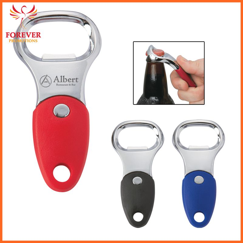 Hot Selling Promotional Metal Custom Logo Bottle Opener With Rubber Grip