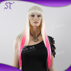 Wholesale Fashion Fake Discount Fantasy Ombre Halloween Wig For Ladies Two Tone Costume