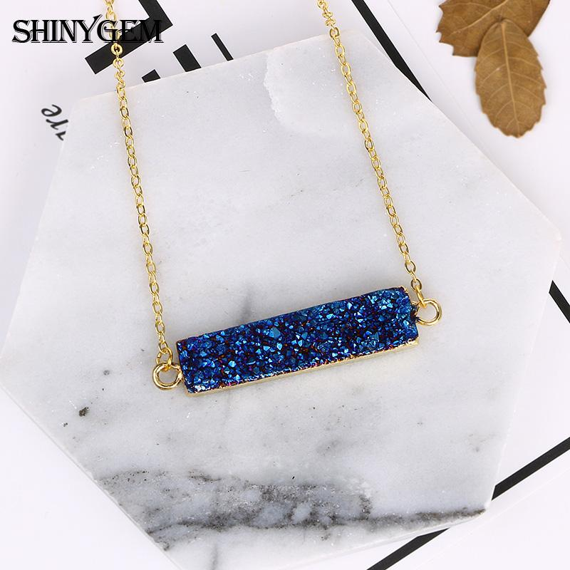 Fashion Amethysts Blue Pendant Necklace for Women Fashion Gold Plating Stone Choker Necklaces