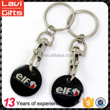 Wholesale custom metal shopping trolley coin keyring