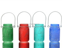 Colored Antique Mason Jar Lanterns Good Quality Hanging Glass Candle Holder