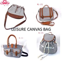 WL-172 Cotton leisure style's stripe hand small woman bags 2015