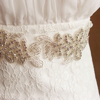 Fashion luxury beaded decorative lace trimming bridal dress Ivory sashes crystal belt for wedding