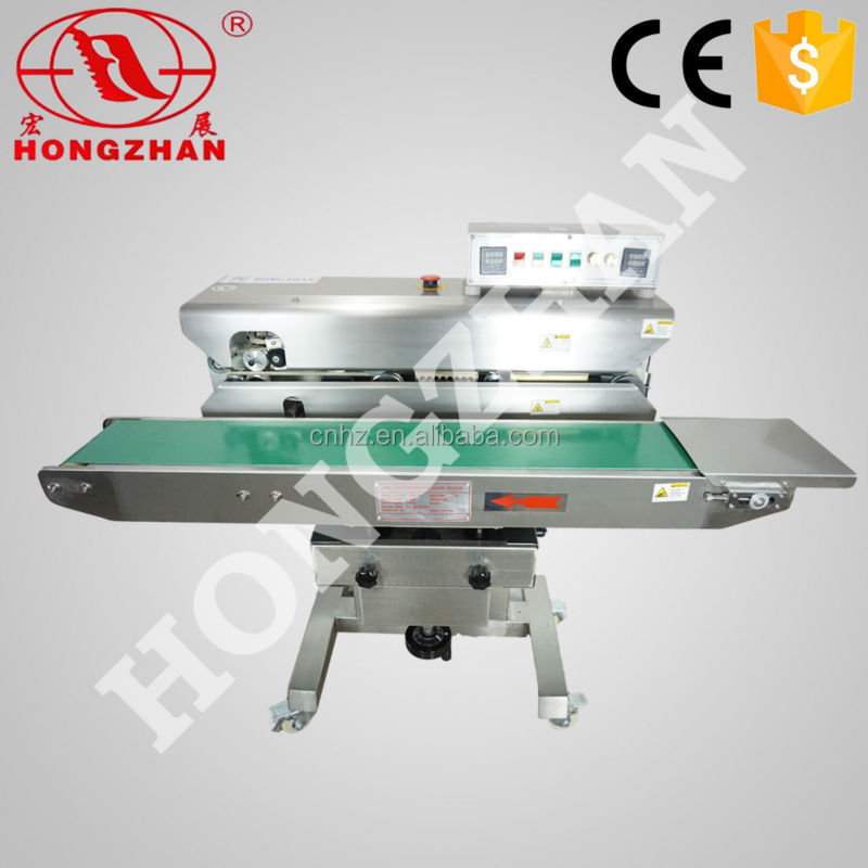 Hongzhan CBS low price durable continuous bag sealing Ink <strong>Date</strong> Printing Continuous Banding Sealing Machine