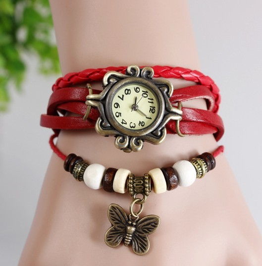 New Arrival White Women's Ladies Girls Charming Elegant Deluxe Retro Butterfly Analog Quartz Bracelet Wrist Watches