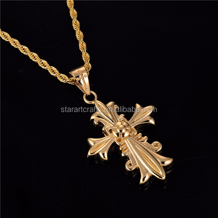 mens gold cross pendants stainless steel design pendant men cross for christmas P610G