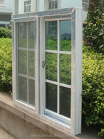 PVC glass window with grills design and insect screen