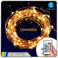 6V 33ft remote control led copper/silver string starry lights