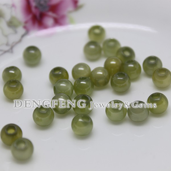 Factory direct sale green ball shape cubic zirconia beads in bulk with hole