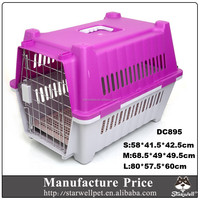 Low MOQ large sized plastic handle dog cat carrier with wheels