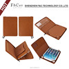 Classical brown pu leather tablet pouch for ipad pro 9.7 inch zipper case with card slots