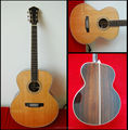 heringbone binding handmade solid wood flat top acoustic guitar