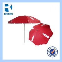 cheap printed advertising folding beach umbrella with tilt and base