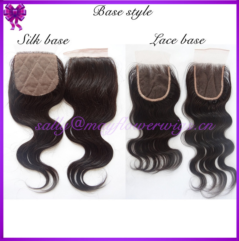 silk base lace closure with clip in virgin Mongolian curl hair pieces 5x5/6x6/4x4 bleached knots