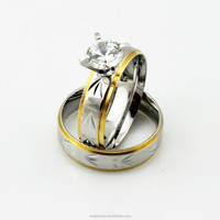Silver Engraved Floral Stainless Steel Austrian Crystal Pair Engagement Ring for Couple