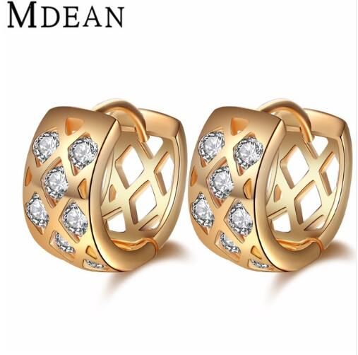 MDEAN Rose Gold plated Brincos AAA Zircon Hoop <strong>Earrings</strong> for women wedding boucle d'oreille CZ diamond jewelry <strong>earrings</strong> MSE011