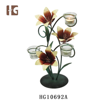 2017 Hot Sale New Design Table Decoration Glass Lily Shape Metal Candle Holder