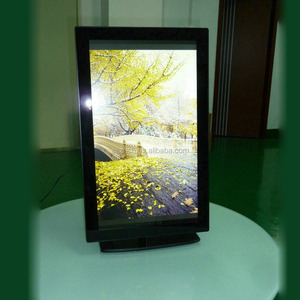Dead-zone free HD 21.5inch digital photo frame with tempered glass panel for advertising