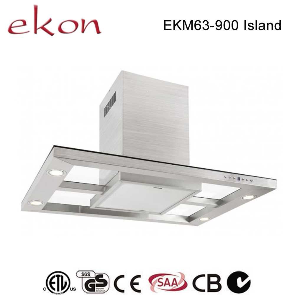new 2016 innovative design see-through glass T style 36 inch range hood stainless steel island ceiling mounted exhaust hood