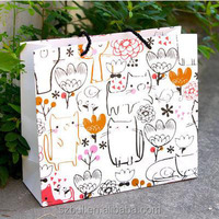 Custom Design Luxury Paper Gift Packing Bag With Printed lovely Cat