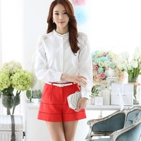 2015 new korea style fashion women long sleeve chiffon tops