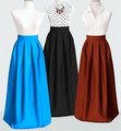 oem floor length ball gown fully lined pleated long satin skirt with pockets