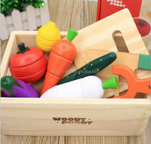 Kitchen Learning Food Prep Kit for Toddlers Painted Wooden Cutting Fruits