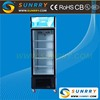 Supermarket upright freezer with glass doors for drink, milk and ice cream display