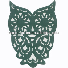New arrival Hot selling owl cut out motif applique for dress design