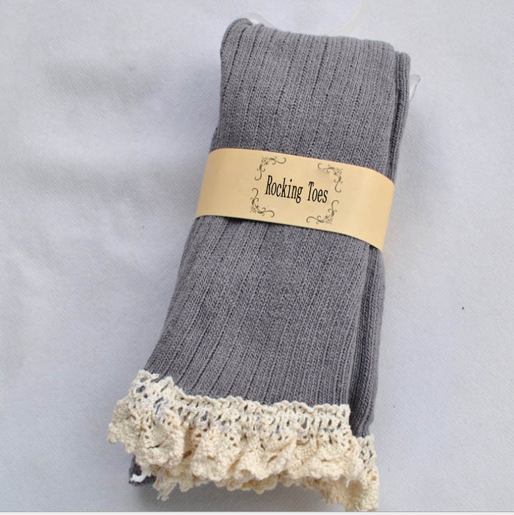 cable knit lace knee high socks