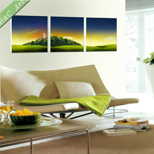 Endless Grassland Panels Print Pictures Canvas Village Scenery Drawing