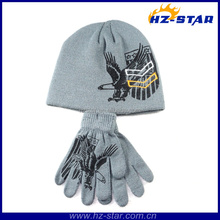 HZM-13225 wholesale warm and soft knitted winter animal fleece scarf hat gloves