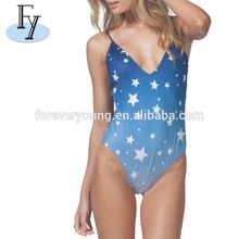 Latest Design Deep Neck Custom Sublimation Print Sexy Women Swimwear