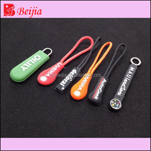 China direct factory Custom shape decorative personailzed Cord Zipper Puller / Zipper Pull / rubber pvc Zipper Slider