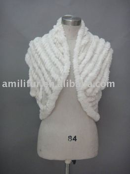 Women's Knitted Vest With Rabbit Fur Trim (Style:#B202)