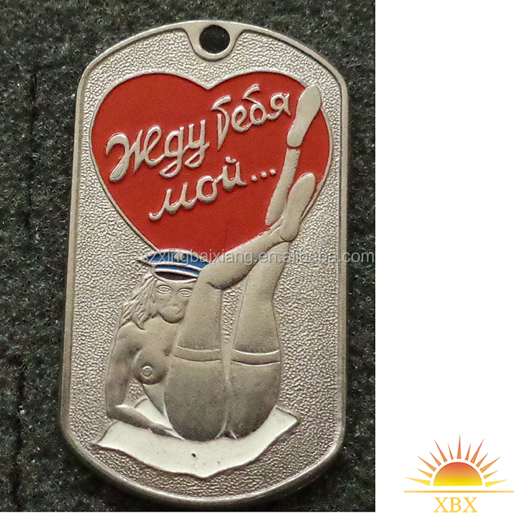 printed sexy girl dog tag with enamel
