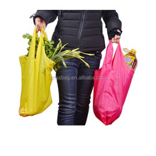 2016 Wholesale Nylon Foldable Shopping Bags Easy Carry Reusable Candy Color Nylon Shopping Bag
