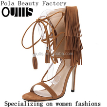 Mega March Sourcing 2017 Sexy tassels design lace-up high heel sandal boots for hot-selling PJ4247