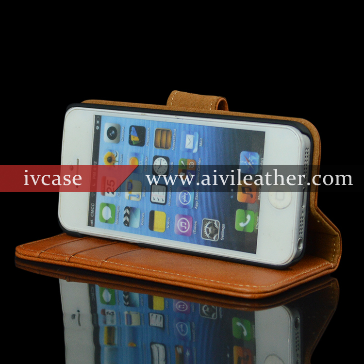 Elegant Handmade Cute Mobile Phone Case For Iphone 5 / 5s Book Leather Case,For Iphone 5 / 5s Wallet Flip Case